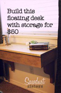 DIY Floating Desk/Vanity with Storage - Sawdust Sisters