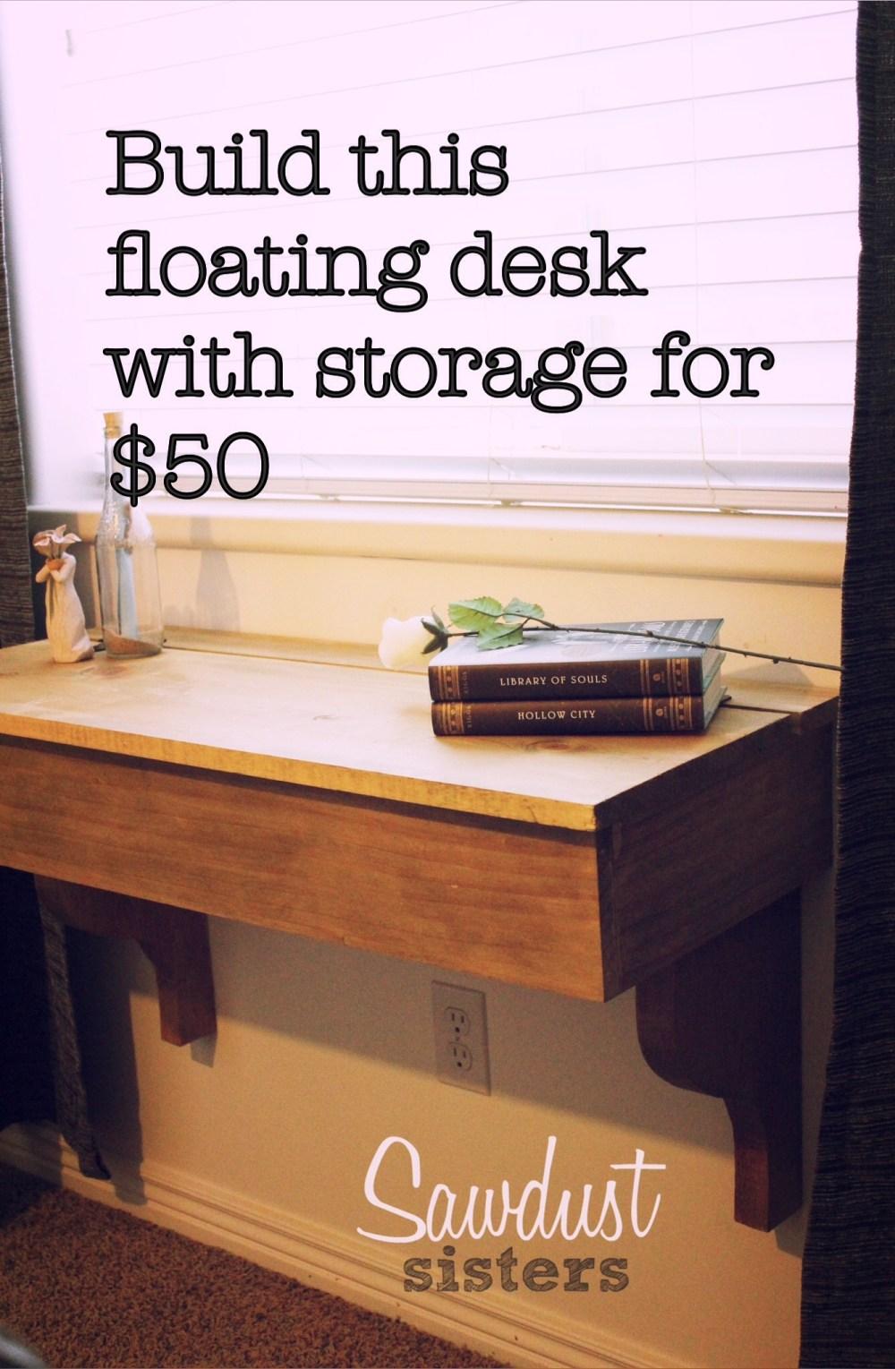 Diy Floating Desk Vanity With Storage - Sawdust Sisters