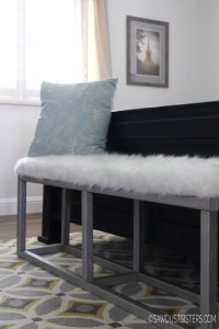 DIY Upholstered Bench with Faux Metal Frame - Sawdust Sisters