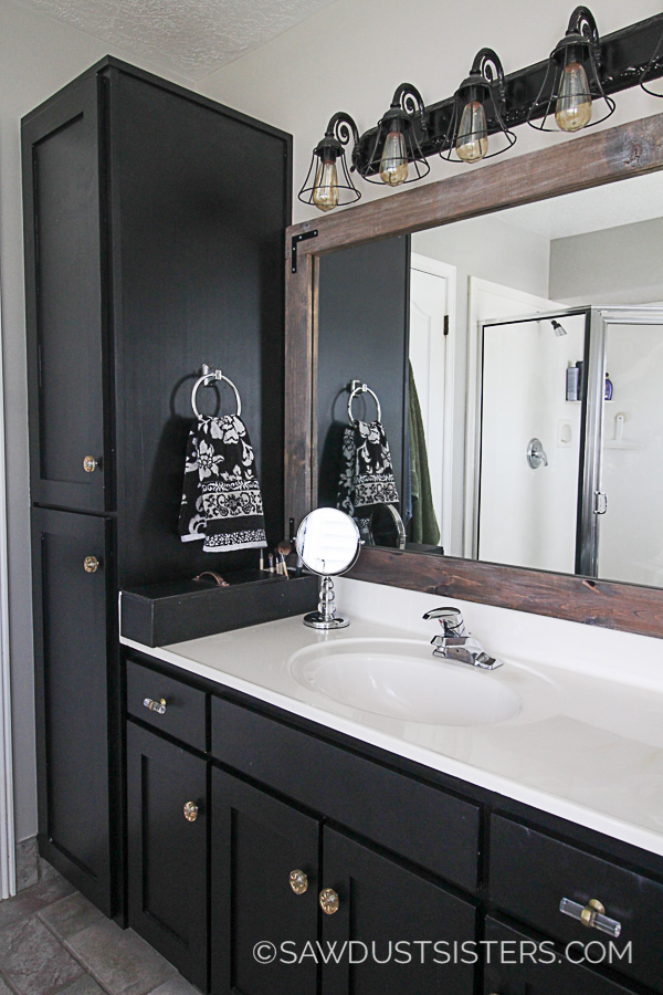Master Bath Update Sleek Black Vanity Makeover  Sawdust