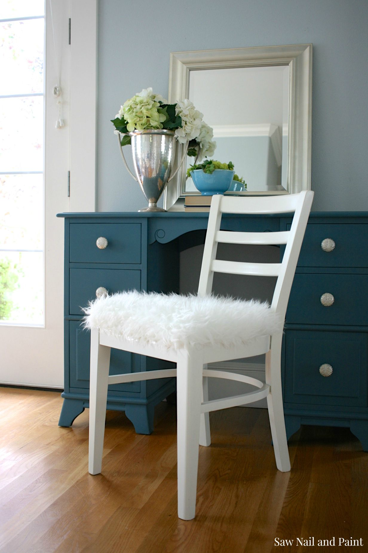 Blue Desk Chairs Seaside Blue Vanity Saw Nail And Paint