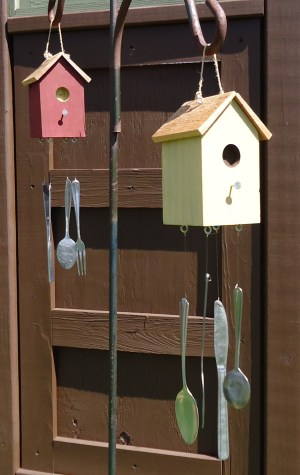 Birdhouse Wind Chimes in the yard