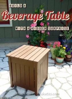Free DIY plans to Build an Outdoor Beverage Table with a hidden surprise!