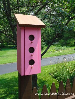 Birdhouse Poop Bag Dispenser pink