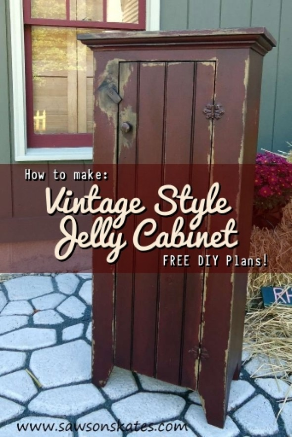 I'm always searching for jelly cabinet ideas... LOVE the antique look and chippy paint of this DIY version! Great for storage and sooo easy to make!
