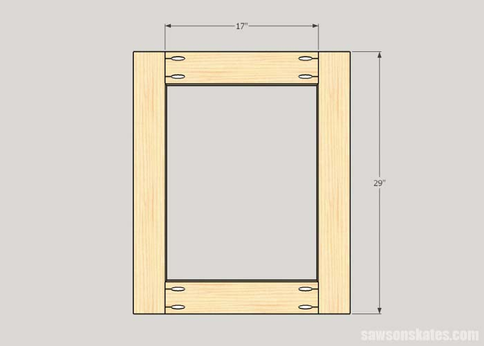 Sketch showing how to assemble the sides of the DIY Flip-Top Cart