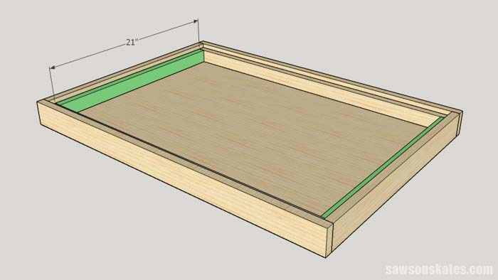 Sketch showin the short sides of the interior mounting brackets of the DIY Flip-Top Cart