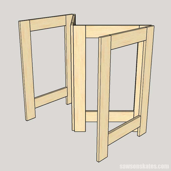"The hinges attach to the legs of the folding workbench and form a ""W"""