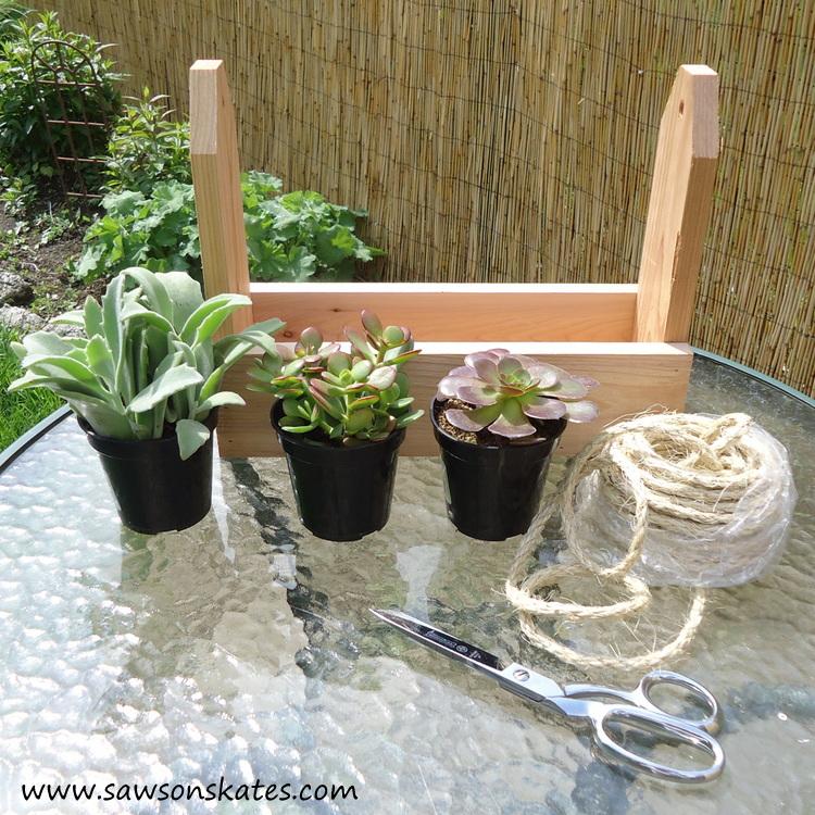diy tool caddy planter outside