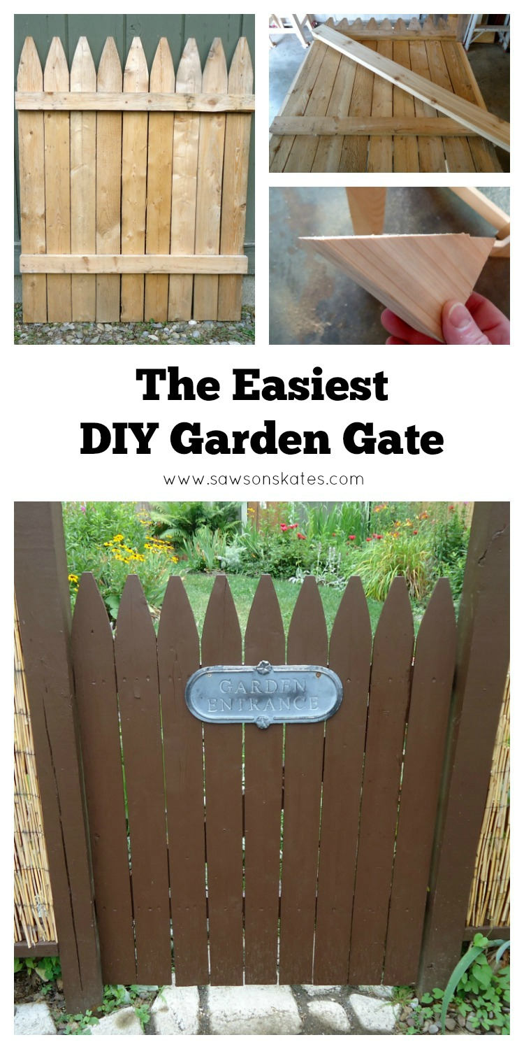 WOW! This DIY garden gate is sooo easy to make! With just a couple of tweaks you can turn a fence section into rustic garden gate!