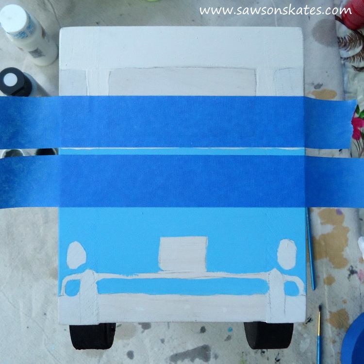 DIY Flower Power Painted Wood Bus Planter - sawsonskates.com