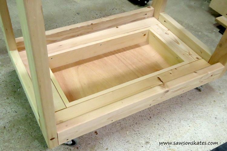 diy fliptop workbench cart storage tray left