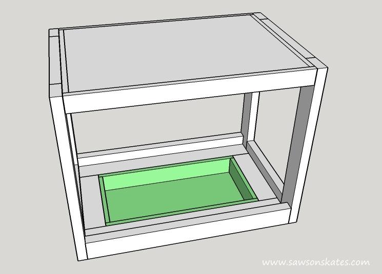 diy fliptop workbench cart storage tray sketch
