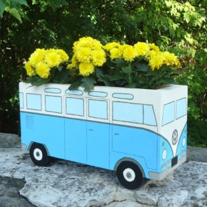 DIY Flower Power Painted Wood Bus Planter