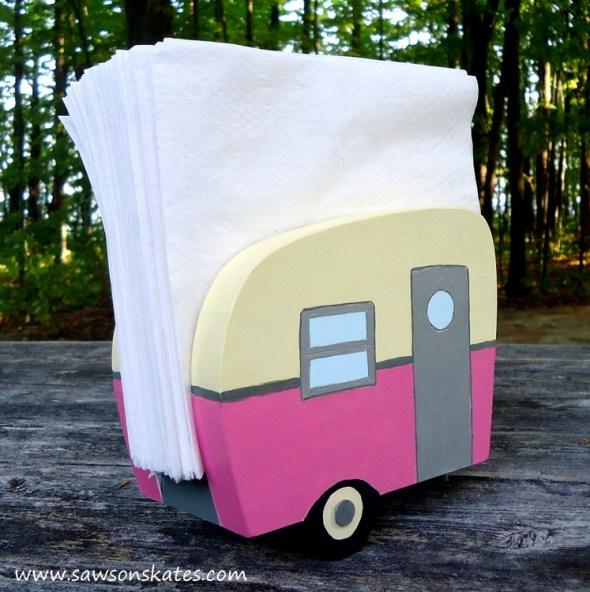 diy vintage camper napkin holder pink 3