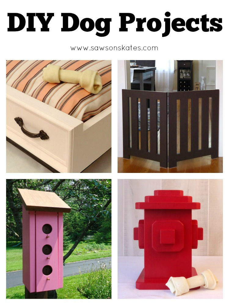 These easy, DIY dog projects would be perfect to make for my pup! There's a dog bed, dog gate, dog treats container and a poop bag dispenser. Plus there are some great gift ideas for dog parents.