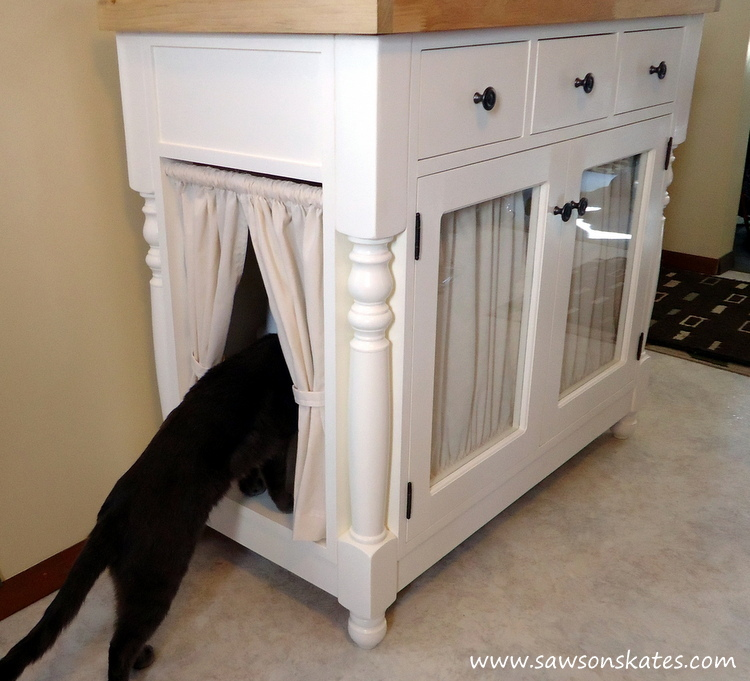 Kitties are cute but kitty litter boxes are UGLY! This tutorial shows how to & DIY Kitty Litter Cabinet Hides UGLY Litter Box Aboutintivar.Com