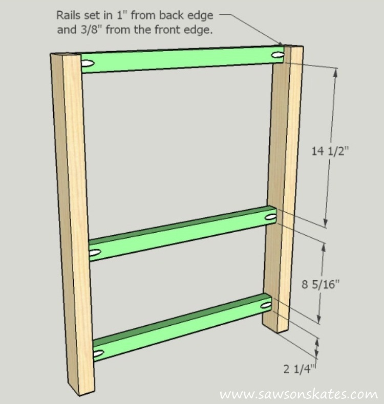 DIY Kitchen Island plans - easy to build, small space kitchen island on wheels - Front Assembly