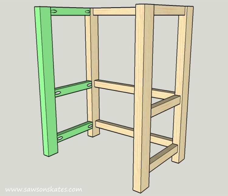 DIY Kitchen Island plans - easy to build, small space kitchen island on wheels - Right Side Assembly
