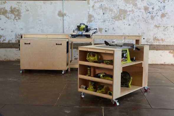 6 DIY Table Saw Stations for a Small Workshop - Ultimate Roll Away Workbench System by Ana White