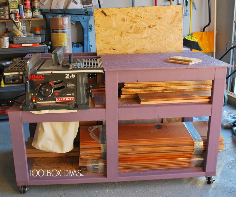 6 DIY Table Saw Stations for a Small Workshop - Table Saw Workbench with Wood Storage by Tool Box Divas