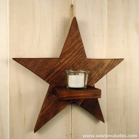DIY Rustic Wood Star Sconce - sawsonskates.com