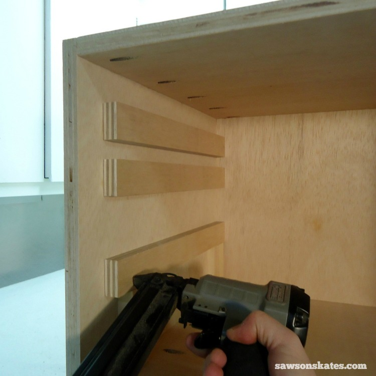DIY Mid-Century Modern Nightstand - drawer supports 4