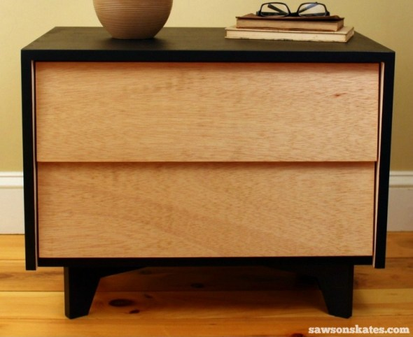 DIY Mid-Century Modern Nightstand - front view