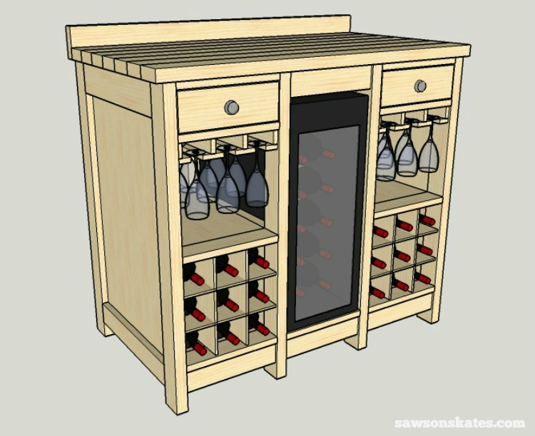 Use these free plans to build a DIY wine credenza with refrigerator! It features an area for a fridge, wine glasses and storage for 18 wine bottles.