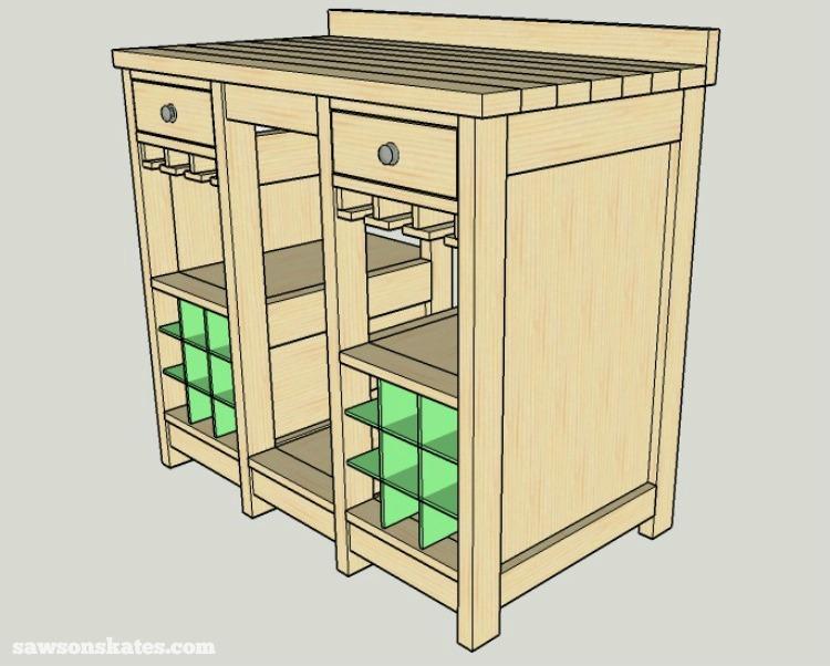 DIY Wine Credenza - Wine Cabinet - divider installation