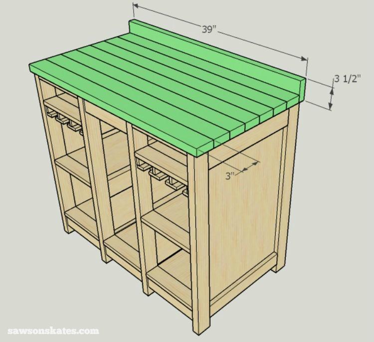 DIY Wine Credenza - Wine Cabinet - top