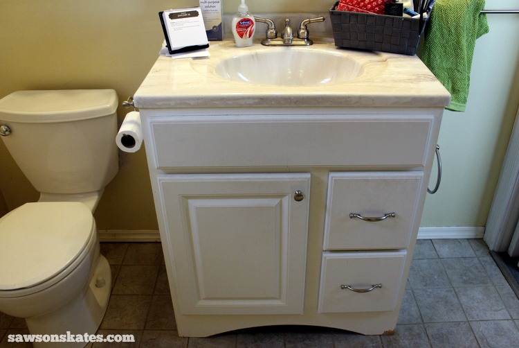 Check out the plans for this small DIY vanity. It features book-matched panels , faux drawers and an IKEA Yddingen sink. It's BIG on style, but fits in a small space! Bathroom before