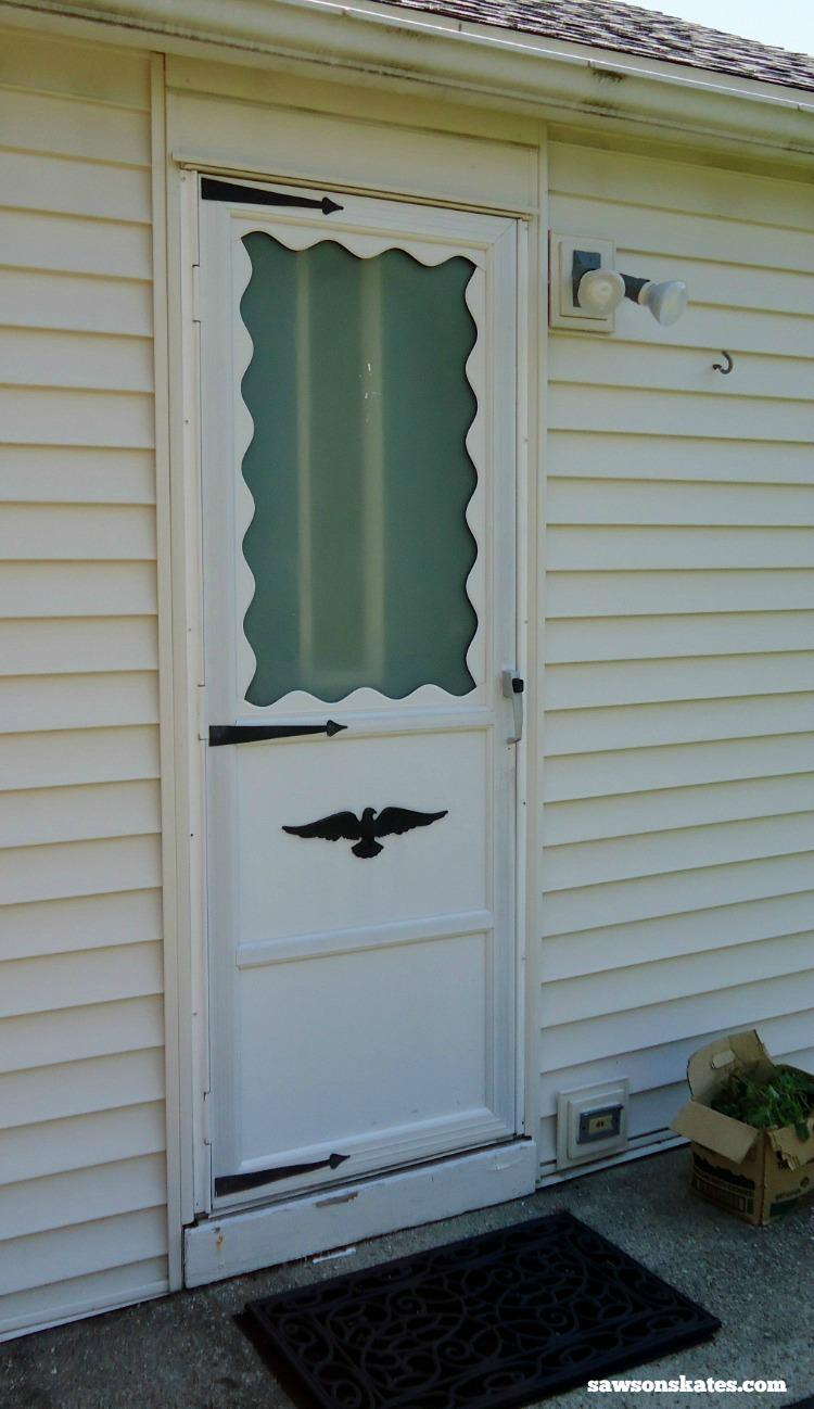 Looking for screen door ideas? Build your own wooden DIY screen door with these plans - screen door before
