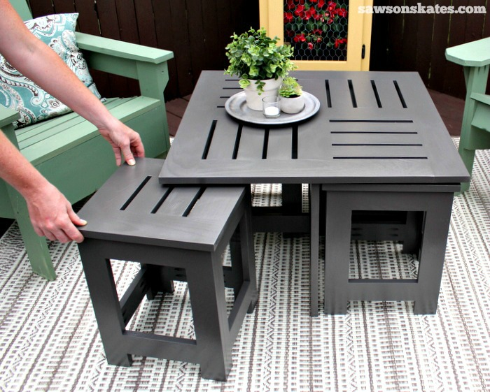 Easy DIY Outdoor Coffee Table Plan With 4 Hidden Side Tables   The Side  Tables Easily