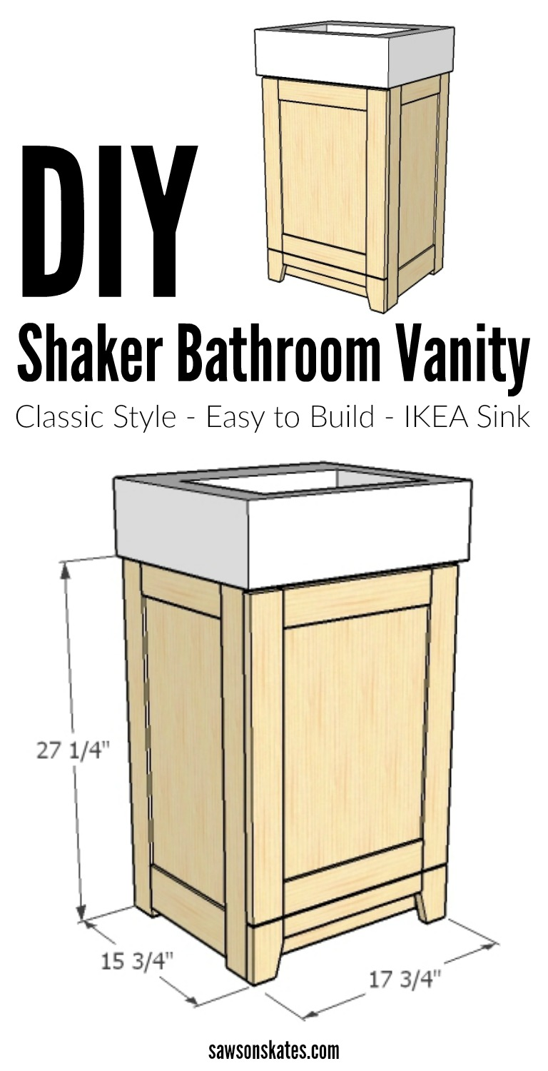 Diy classic style shaker bathroom vanity for How to make a bathroom vanity out of furniture