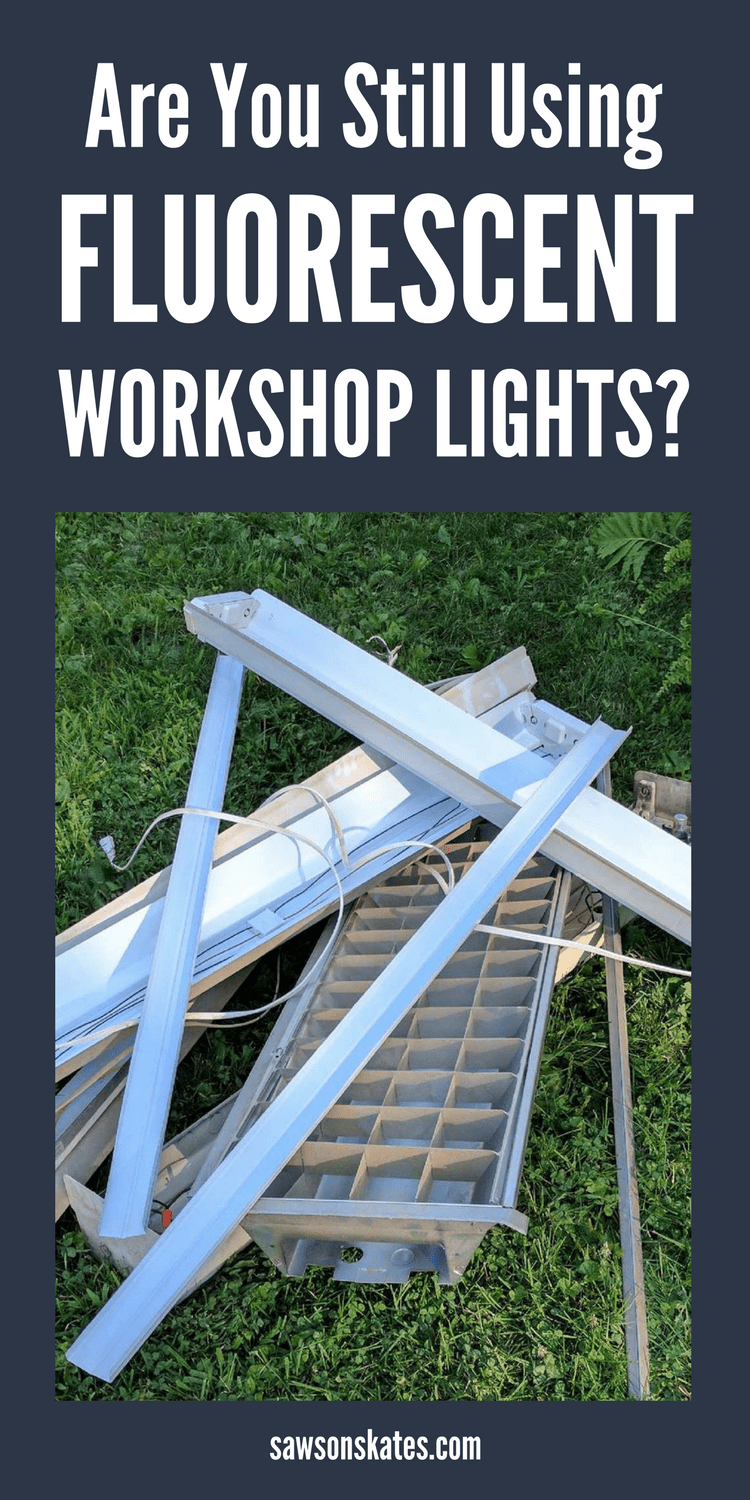 Looking for DIY ideas to brighten your dim, poorly lit workshop? Here's why you should replace your old workshop lights with LED shop lights - the difference is like night and day! #ledworkshoplights #workshop #workshoptips