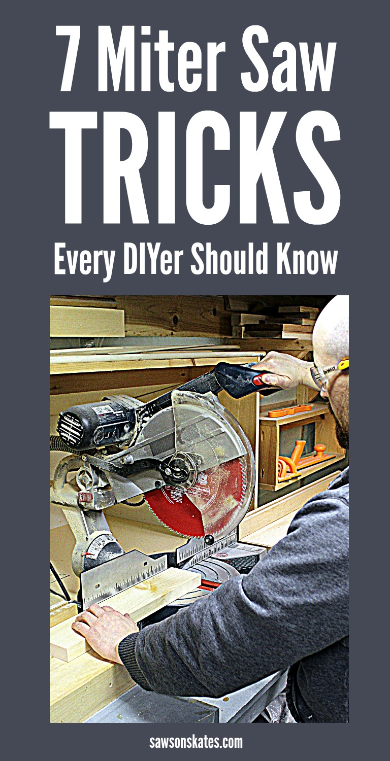 Do you know how to use a miter saw? Sure, you can use it to make cuts for building DIY projects, but do you know how to make the most of your saw? These miter saw tips and tricks are great for beginners and DIYers of all skill levels. #diy #diyfurniture #mitersaw #woodworking #woodworkingtips #woodworkingtools #diywoodprojects