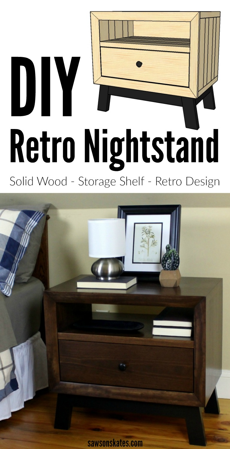 I love Mid Century style bedroom ideas and Mid-Century Modern nightstands! This DIY retro night stand plan is made with solid wood and features open storage and a drawer. Great as small side table too. I'm putting this project on my build list! #diy #midcenturymodern #nightstand