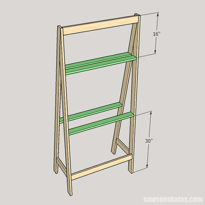 DIY ladder desk - attach the stretchers