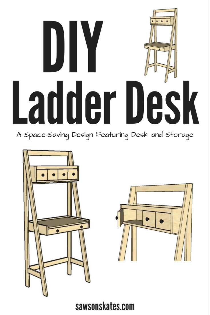 I love space-saving furniture plan ideas! This DIY ladder desk hardly takes up any space and is ready for work and storage. It's perfect for a home office or doing homework, plus it's easy enough to build in a weekend!
