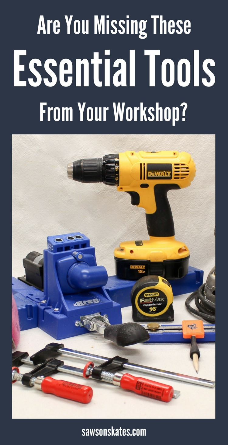 Are you missing these must-have woodworking tools needed for building DIY furniture? We'll look at the essential safety gear, measuring and marking tools, saws, Kreg Jig, drills and more you need in your toolbox or workshop!