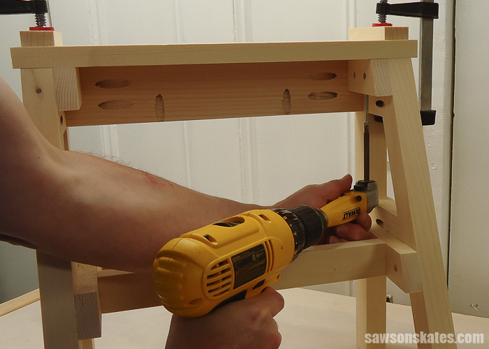 DIY Ladder Chair - cut and attach the front seat