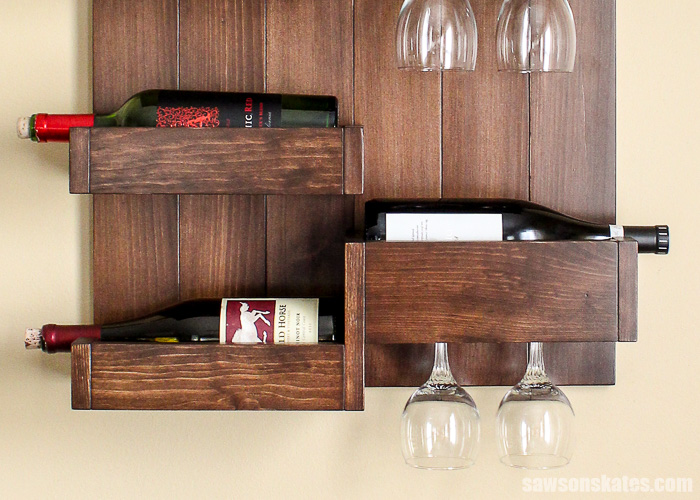 Wall-mounted DIY wine bar - rounding over the edges of the back boards give the piece a professional look