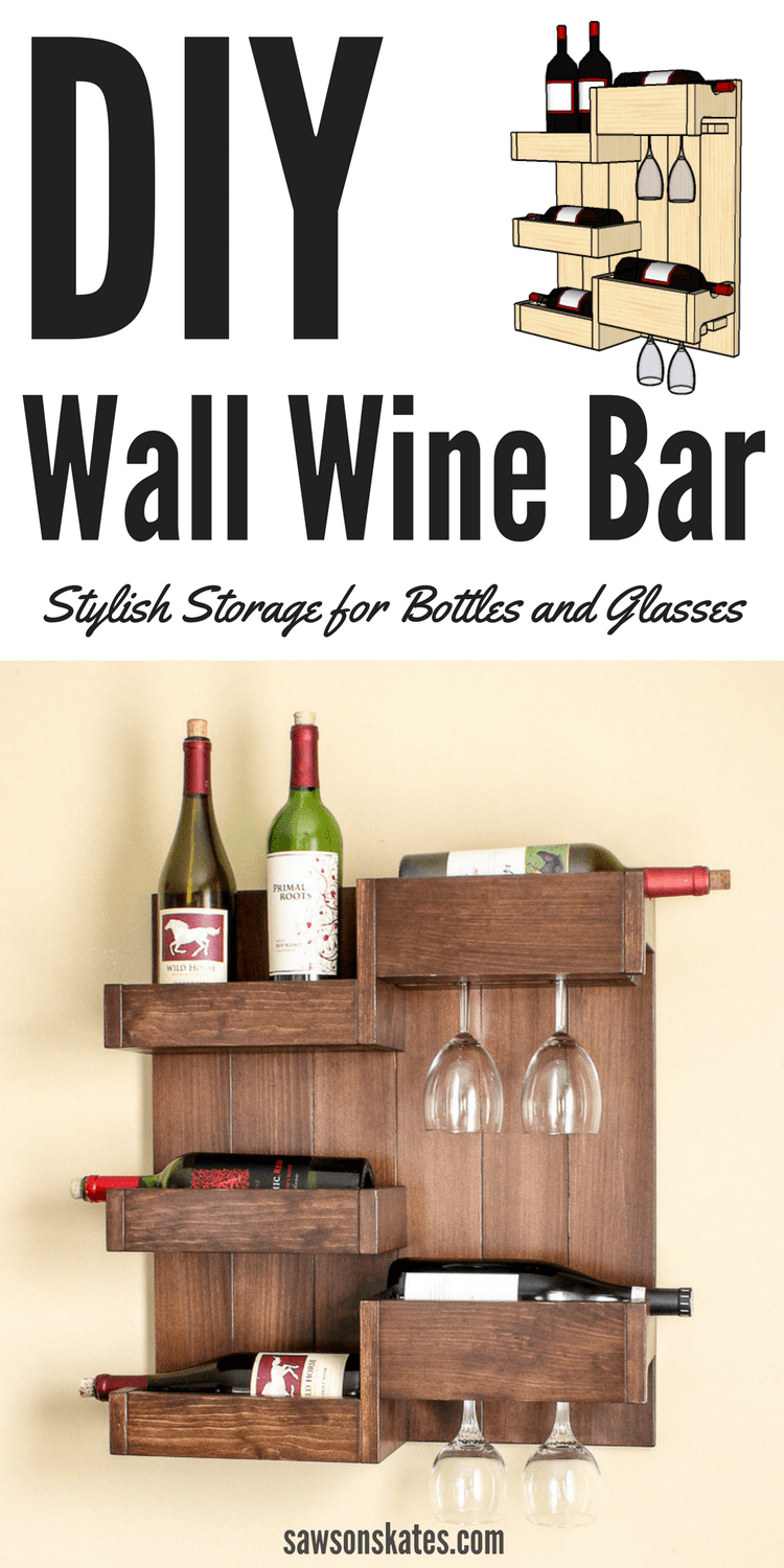 Looking for wine storage ideas? Here's an easy to build DIY wine cabinet alternative. This wall-mounted wine bar features a shelf for four wine bottles and a rack for wine glasses. Free plans at Saws on Skates.
