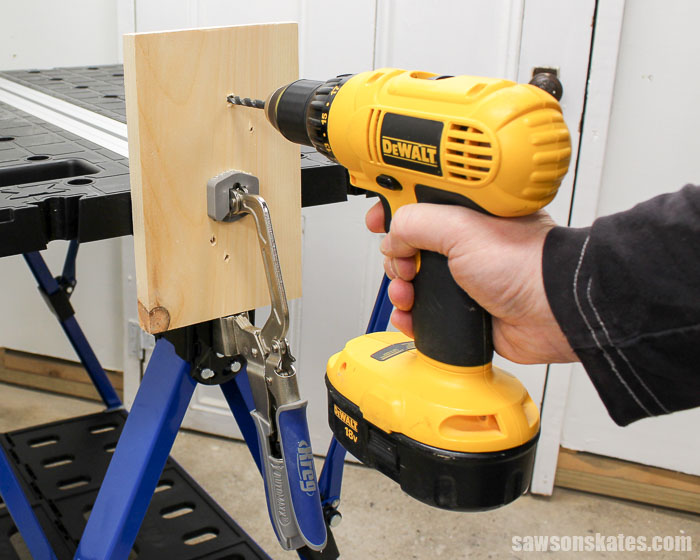 Best Workbench Features - With the bench clamp mounted to the legs of the Mobile Project Center, it can be used as a bench vice.