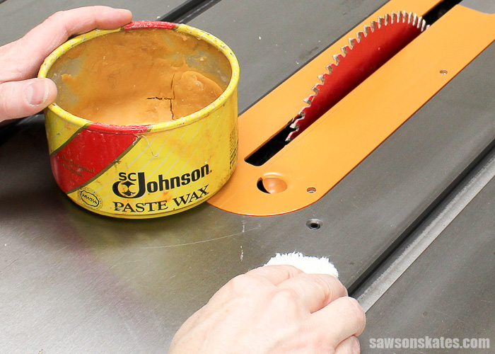Tune Up Your Table Saw - wax your table saw to reduce the chances of oxidation and reduce friction