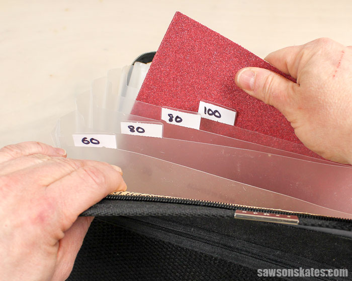 An accordion file makes sandpaper storage simple, easy to transport to a job site and is the perfect space-saving solution for a small workshop.