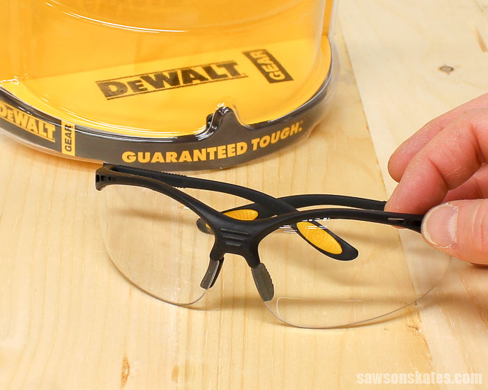 Protecting our eyes when DIYing is a must, but sometimes we also need reading glasses for detail work. Bifocal safety glasses offer needed eye protection and magnification.