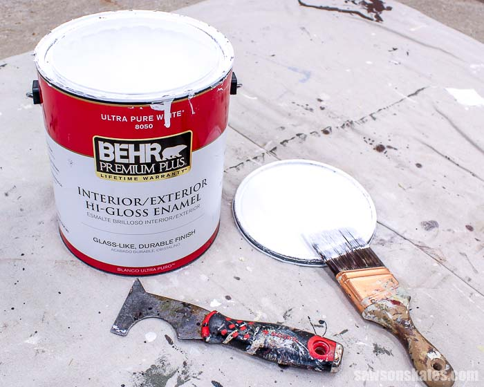 Behr High Gloss paint is used to paint small workshop