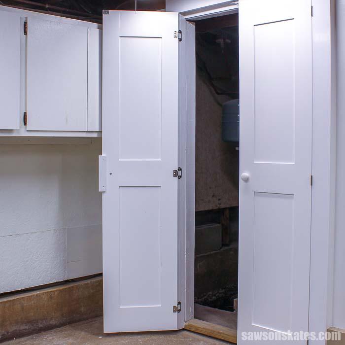 The DIY worskhop door in the open position